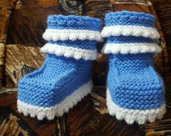 Baby booties, baby shoes, baby accessories, baby gift, children knits, handmade knits, crocheted booties, warm, soft, winter, blue, autumn