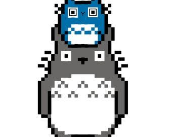 Totoro, Chu-Totoro, and Chibi-Totoro - PDF cross stitch pattern