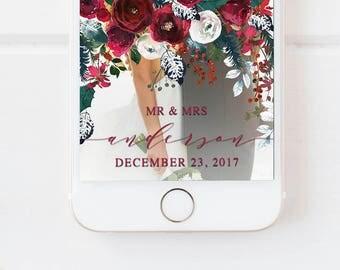 WEDDING SNAPCHAT GEOFILTER Floral, Snapchat Geofilter Wedding,Wedding Day Geofilter,Floral Wedding Filter,Floral Geofilter,Wedding Geofilter