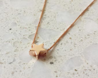 Sterling Silver Rose Gold Plated Star Charm Necklace/ Star Charm Necklace/ Rose Gold Necklace/ Star Necklace