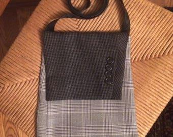 Upcycled Suit Coat Crossbody Purse / Bag