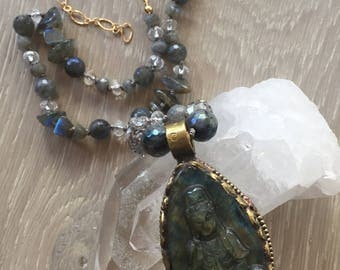 Labrodrite Buddha Pendant Necklace, Hand Knotted Beaded Necklace, Crystal Quartz Beads, Labradorite Beads, Silk Thread