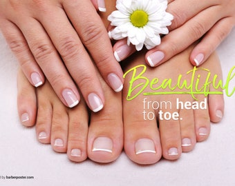 "Nail Salon Poster - Poster For Nail Salon - Manicure, Pedicure Poster - 36"" x 24"" Laminated"