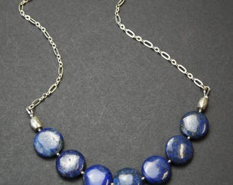 Lapis Lazuli and Sterling Silver Chain Necklace E 042