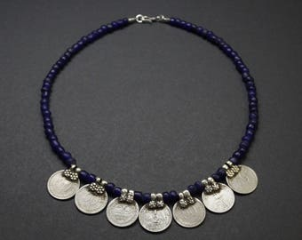 Old Indian Coin Necklace E 078