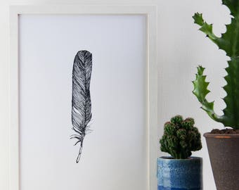 Black and White Feather Print, Black and White Print, Poster, 29.7 cm x 42 cm, A3 Art Print, Feather Print, Screen Print, Gift Idea
