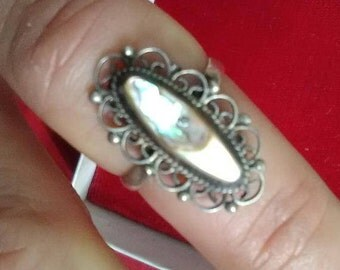 Sterling and Abalone Adjustable Ring