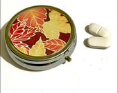 Fall Leaf Pill Box  Portable Pill Container  Pocket Tablets Tin  Red Yellow Chocolate Medicine Box  Handbag Pills Storage  Grandma Gift