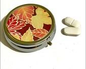 Fall Leaf Pill Box  Portable Pill Container  Pocket Tablets Tin  Red Yellow Chocolate Medicine Box  Handbag Pills Storage  Grandma Gift