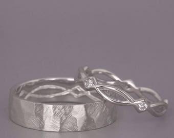 14k White Gold Eternity Wedding Rings Set With Diamonds Handmade 14k White Gold Celtic Wedding