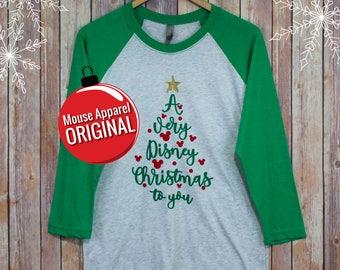 Very Disney Christmas Raglan/Disney Christmas Raglan Shirt/Disney Shirt/Glitter Disney Christmas Shirt