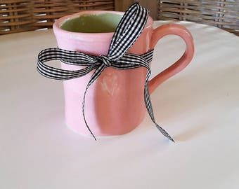Pink ceramic mug decorated with a gold heart Cinderella coffee cup ceramic, gift for MOM, pink Cup, Valentine's day Mug