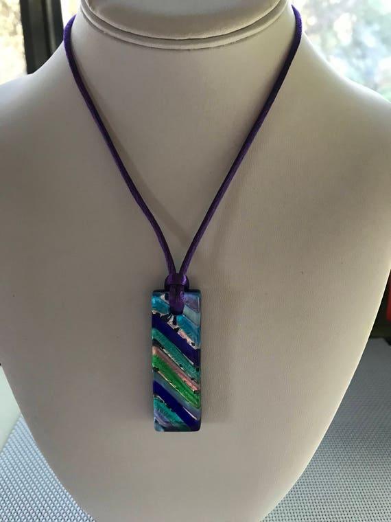 Murano Glass On Trend Pendant Necklace On Purple Satin Cord