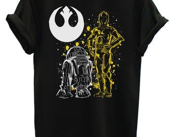 Star Wars Droids T-Shirt Distressed Ink Spatter Men's StarWars T-Shirts