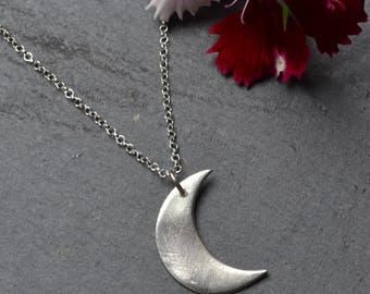 Handmade fine and sterling silver Cresent Moon pendant, silver moon necklace, silver moon, mothers day gifts