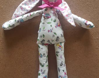 Cath Kidston style Bird and Floral White Cotton Bunny