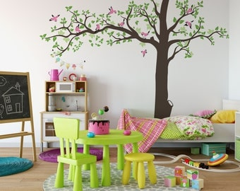 Nursery Wall Decal Tree Vinyl Decal, Tree Wall Decal, Tree and Birds decal, Kids Vinyl Sticker Vinyl Wall Decal ABTR2