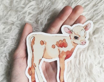 Spotted Cow Sticker - Baby Cow - Jersey Cow - Cute Farm Animal - Vinyl Sticker