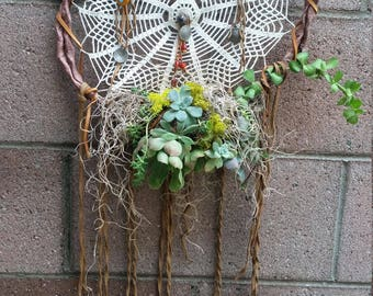 Dream catchers  Old doilies Leather  Succulents  Vintage coins and beads