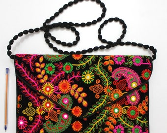 Handmade Ethnic Designer Tribal Banjara Patchwork Embroidered Hippy Fashionable Stylish Trendy Hippie Gypsy Boho Bohemian Clutch Bag F305