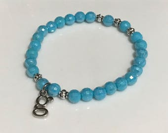 Blue and Silver Handmade Beaded Bracelet with Silver 'G' Letter Charm
