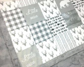 Bear Deer Baby Blanket, personalized gray Minky blanket arrows plaid lumberjack blanket, woodland blanket, neutral gender birth gift blanket