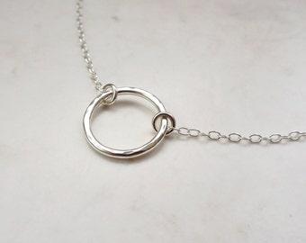 Silver Choker Necklace - Silver Circle Choker - Choker Chain Necklace - Sterling Silver Hoop Necklace - Circle Necklace