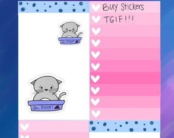 Kitty | Cat Litter Box Day Tracker Planner Stickers (F10)