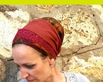 Feel warm? With this beautiful and brownish tichel you will. Cotton and polyester,Red lace,Head cover,Chemo hat,Jewish tichel,Sinar tichel