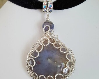 Wire Wrapped Agate and Swarovski Crystal Choker