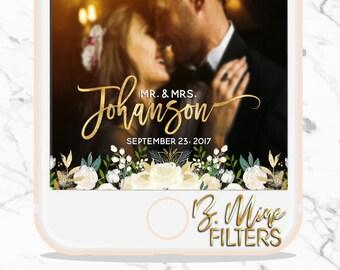 Wedding Snapchat Geofilter, Wedding Snapchat Filter, Custom Snapchat Geofilter, Floral Snapchat Filter, Greenery Snapchat, Ivory Snapchat