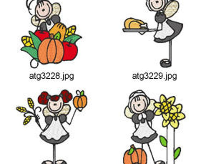 Thanksgiving-Stick-Fairies ( 7 Machine Embroidery Designs from ATW ) XYZ17I