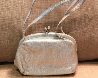 Vintage 1950 Silver Metallic Evening Bag by Morris Moskowitz,