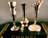Trio of Vintage Brass Single Bud Vases / Brass Flower Vases