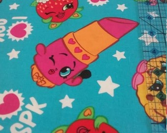 Half Yard Cotton Shopkins Multi Character Fabric with Lippy Lips, Kooky Cookie and Others!