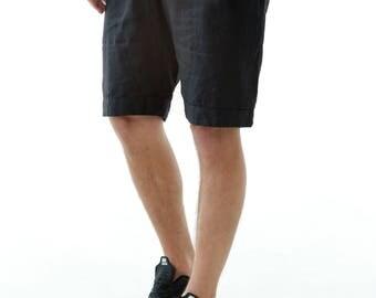 Mens linen shorts. Summer linen shorts. Shorts for men. Mans organic clothes. Leisurewear. Black shorts. Gift for him. Summer linen fe8ZddlyOu
