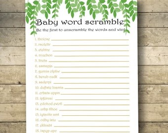 Where the wild things are Baby Word Scramble, Baby Shower Games, Baby Shower Scramble, Baby Word Scramble Game, Printable