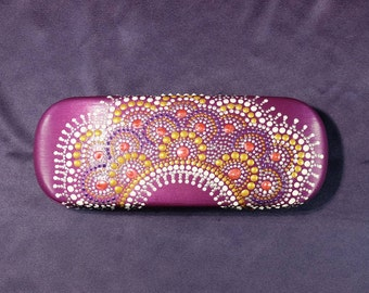 Hard glasses case, hand painted point to point eye glasses case, gift for mom, spectacles case, gift for woman, eyeglass box Eyeglasses case