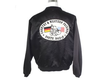 Unique 1982 Country & Western music friends patched bomber jacket, Monika written on the front.