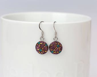 Round Dangle Earrings, Swarovsky Crystal, Beads Bars, Sterling Silver Ear Wire, Amethyst Color, Korean Unique Style