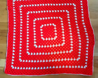 Unique Handmade Crochet Square Red & White Baby Blanket
