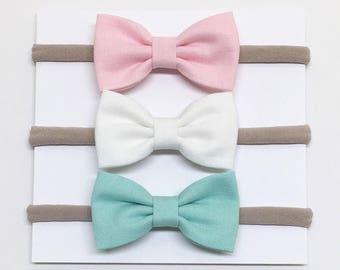 Nylon Baby Headband - Pink, White, Aqua - Baby Headband - Clips or headbands
