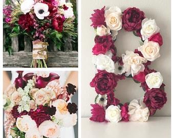 Wedding Letter, Flower Monogram, Floral Letter, Flower Letter, Bridal Letter, Wedding Monogram, Custom Flower Initials, Head Table Monogram