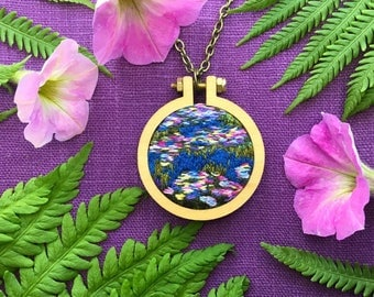 Monet, Colorful Water Lily Hand Embroidery// Miniature Art Pendant Necklace