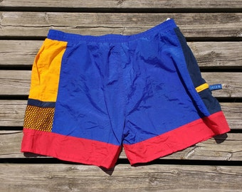 Retro Vintage 90's Colour Block Swim Trunks Shorts 34W Red Yellow Blue