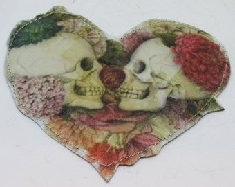 Grateful Skeleton Heart Shaped Patch ~Iron on Grateful Dead Patch