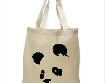 High Quality Heavy Canvas Tote Bag - Panda Face - Panda Bear