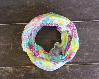 Floral Baby Scarf | Summer Toddler Infinity Scarf | Child Infinity Scarf  | Little Girl Scarf | Party Favors | Bright Neon Kid's Scarf