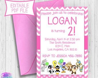 Pink Looney Tunes Birthday Invitation - Editable PDF - Bugs Bunny Lola Bunny Tweety Birthday Invite - INSTANT DOWNLOAD 013