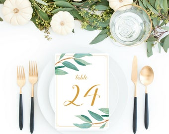 Eucalyptus Bohemian Floral Table Numbers | 4x6 and 5x7 Wedding Table Numbers | Boho Herbal Greenery  Leaf Party Printables | EUC1174